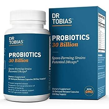 Dr Tobias Probiotics 30 Billion 10 Probiotic Strains Targeted Release 30 Capsules Non-GMO  1 Daily