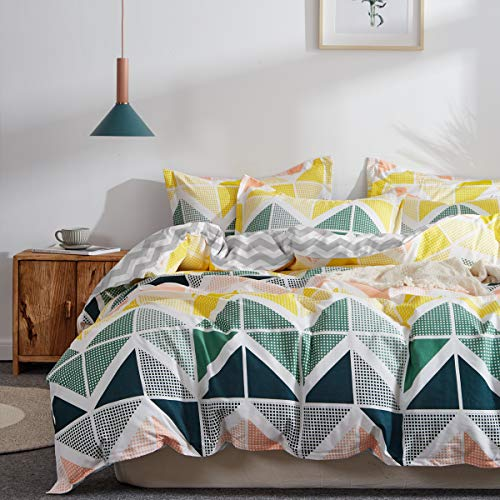 Uozzi Bedding 3 Pieces Colorful Duvet Cover Set Queen Green Navy Yellow Orange Cubes Pattern Microfiber Comforter Cover with Ties and Zipper Morden Style Adult 3PC Bedding Set (Not a Comforter)