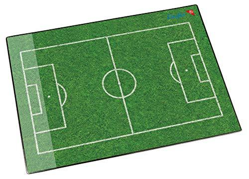 Läufer 46654 Schreibtischunterlage Fußballfeld, 53x40 cm, rutschfeste Schreibunterlage für Kinder, verschiedene Motive, mit transparenter Seitentasche