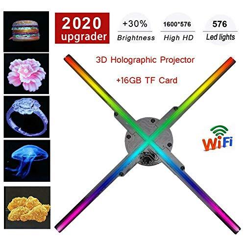 3D Hologram Fan, WiFi 3D Hologram Werbung Displayerled Holographic Projektor, Messegelände Werbung für Geschäft, Bars, Clubs Kompatibel mit Windows XP / 7/8/10,Schwarz