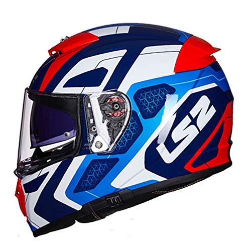 Offroad-Rennen Motorrad Integralhelm Cruiser Roller Antikollisionssporthelm Eingebaute Sonnenbrille Unisex-Kopfschutz kann mit Bluetooth-Headset ausgestattet werden Abnehmbares Waschbares Futter,XXL