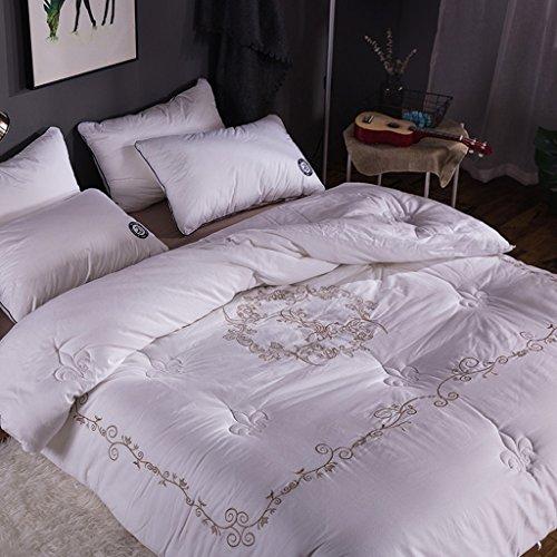 MMM Coton hiver printemps et automne Quilt épais Double brodé Quilt Core Sanding literie (Couleur : Blanc, taille : 220 * 240cm(4.5kg))