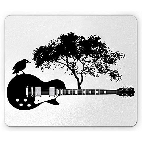 Gitarren-Mausunterlage,Zusammensetzung Eines Vogels Auf Einem Musikinstrument Mit Einem Baum Auf Der Rückseite,Rutschfestes Gummi-Mousepad des Rechtecks