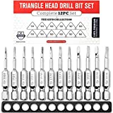 Triangle Drill Bit Set (12pc Complete Set) TA14 - TA30 Hex Shank Magnetic Bit Set - THE GIFD COLLECTION - Fortified S2 Steel - Long 2in Heads for Handheld and Electric Drills
