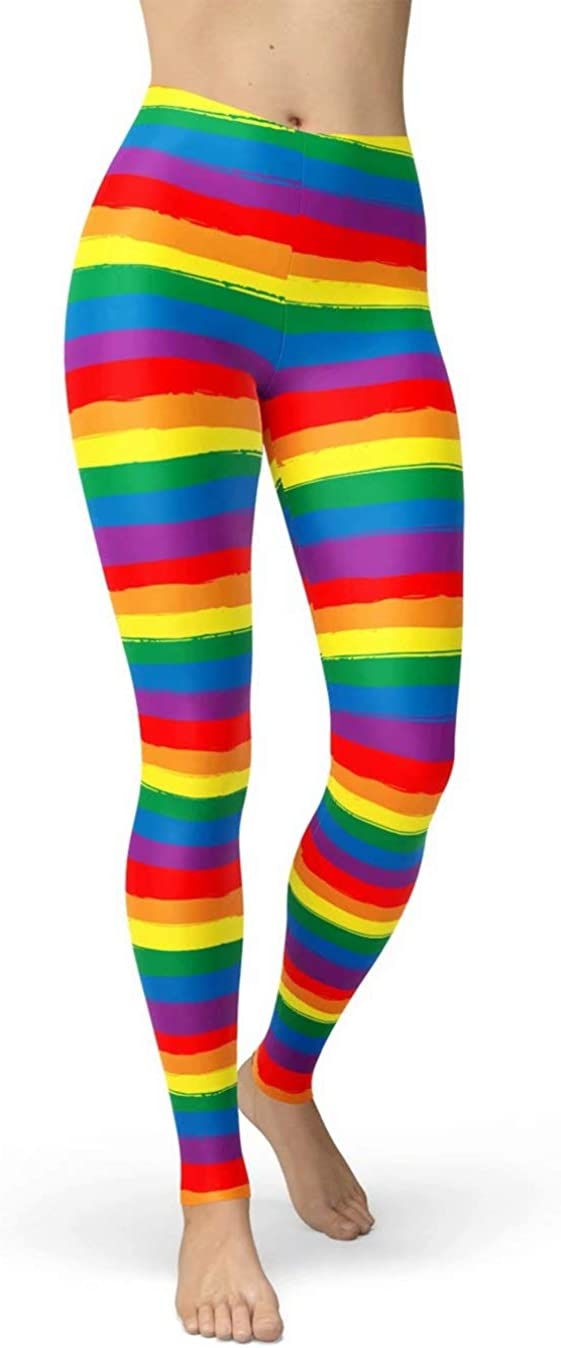 Women's Rainbow Printed 80s Leggings Brushed Buttery Soft Tights