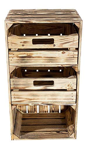 Kontorei® geflammter/brauner Hochschrank mit Schubladen 68cm x 40cm x 31cm 1er Set Regal Obstkiste Holzregal