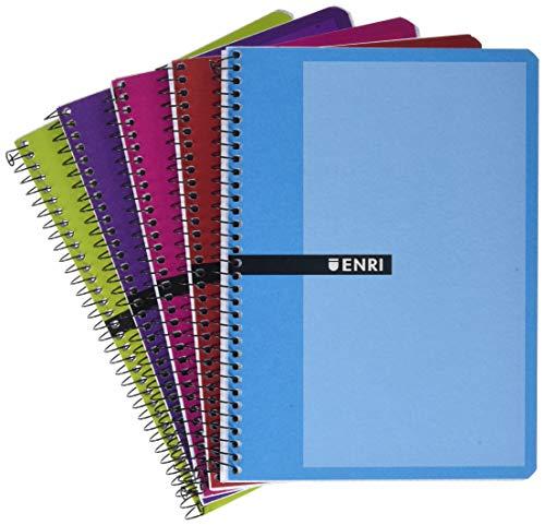 Enri 100430081, Cuaderno con cubiertas duras, 80 hojas, Colores surtidos, Paquete de 5