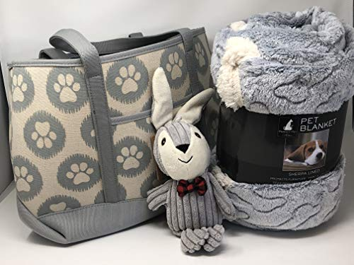 unknwon Dog Paw Print Canvas Tote Bag, Sherpa Lined Embossed Bones Pet Throw and Rabbit Soft Chew Toy Bundle or New Pet Owners