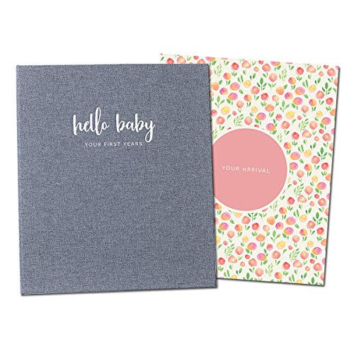 Peachly Minimalist Baby Memory Book for Girls Milestone Keepsake Journal | First Five Years Baby Girl Memory Book | Baby Keepsakes First Year Memory Book | Baby Girl Baby Book | Grey Linen Botanica