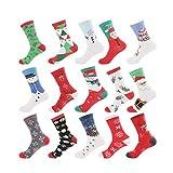 GUOQIAO¢ 15 Pares de Calcetines de algodón con diseño de muñeco de Nieve para Hombre Viejo y Desodorante