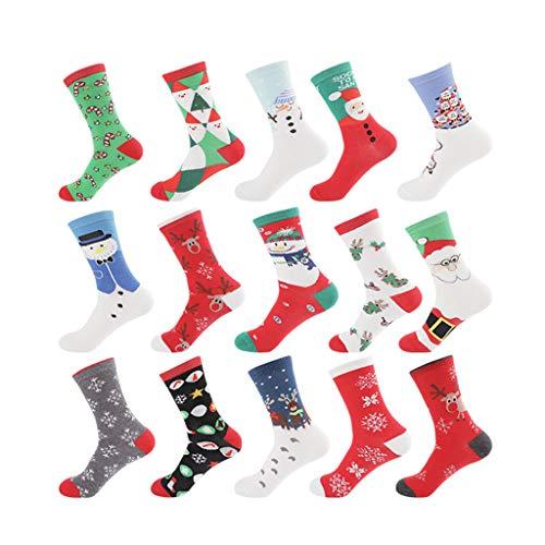 JIACUO 15 paar Warm Zweet en Deodorant Oude Man Elk Sneeuwman Katoen Vrouwen Sokken In De Buis Nieuwjaar Kerstmis Feestelijke Rode Sok