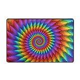 Blived Alfombrilla de baño,Espiral Arcoiris en Colores Vibrantes Arcoiris Circular de ilusión óptica Alfombra de baño 75cmx45cm