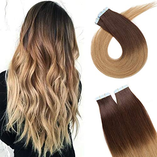 50cm - Extensiones de Cabello Natural Adhesivas (2.5g*20pcs) Sin Clip Tape in Extension 100% Pelo Humano Remy Human Hair - 4T27# Marrn Medio Ombra Rubio Oscuro