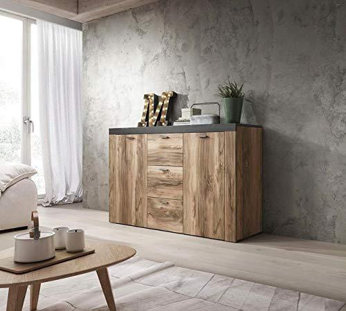 Moebelaktionsshop24 Sideboard Wohnzimmer Schrank Satin NUSSBAUM Darkwood MATT NEU 75332445