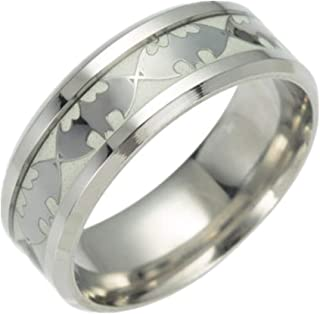FeixingJewelry Glow in The Dark Silver Batman 316L Titanium Stainless Steel Silver Ring Band