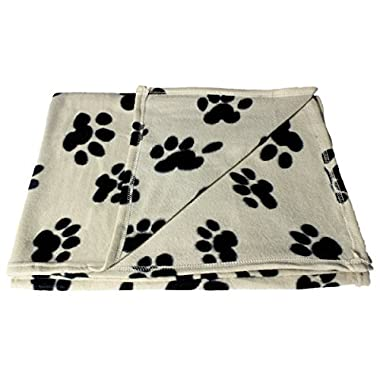 bogo Brands Large Fleece Pet Blanket with Paw Print Pattern Fabric - 60 x 39 Dog and Cat throw by (Tan & Black)