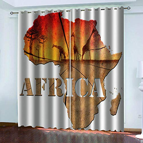 GenericBrands Verdunkelungsvorhänge Afrika Karte Vorhang Gardinen Blickdicht mit Ösen Verdunkelungsvorhang Thermovorhang lichtdicht für Wohnzimmer Schlafzimmer-W117X138cmX2 Panel