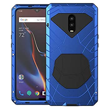 Feitenn OnePlus 6T Case 6T Phone Case Armor Aluminum Alloy Metal Cover Heavy Duty Soft Rubber Shockproof Protective Military Bumper Outdoor OnePlus 6T for Men with Tempered Glass - Blue