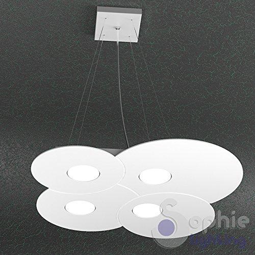 Lustre lampe suspension réglable Panneau slim nuage rond 49 x 48 cm LED remplaçables 36 W Design ultra moderne élégant minimaliste acier blanc table péninsule cuisine salle à manger dur S4 Sophie Lighting