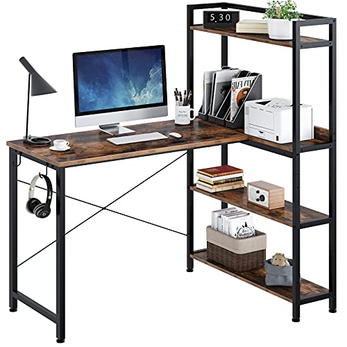 home office desk with storages Rolanstar Computer Desk with Storage Shelves 47