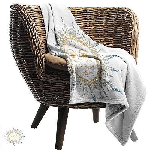 ZSUO - Manta climatizada para el Sol, diseño de Luna monocromática con Plumas, Corona, Hojas y Palos espirituales, Color Azul pálido, Negro, Blanco, Tela acogedora y Duradera, Lavable a máquina