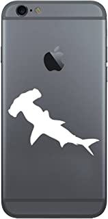 Hammerhead Shark Silhouette Vinyl Cell Phone Decal for the iPhone or Android (WHITE 2