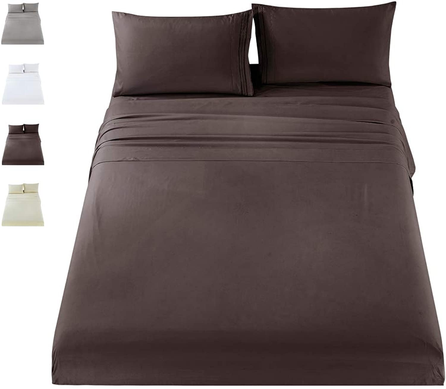 MUKKA 3 Pieces Brown Hypoallergenic Embroidered Brushed Super Soft Microfiber 1800 Thread Count Luxury Egyptian Bed Sheets Set,Twin - Wrinkle, Fade, Stain Resistant