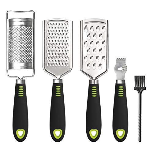 SUTINE Set of 5 Cheese Grater ampShredder Lemon Zester Multipurpose Graters for Kitchen Stainless Steel Handheld Food Grater Slicer for Vegetable Fruit Chocolate With Cleaning Brush