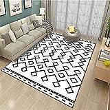 Alfombras Alfombra despacho Suave y Confortable Alfombra de diseño geométrico Negro Blanco Durable Decoracion habitacion Infantil alfombras baño 60*90CM