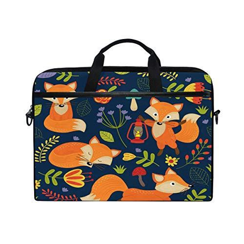Jokerr Laptop-Tasche mit Tiermotiv und Fuchs-Blumen-Muster, 35,6 cm bis 14,5 Zoll, Aktentasche, Messenger Computer Sleeve Tablet Tasche mit Schultergurt für Jungen und Mädchen