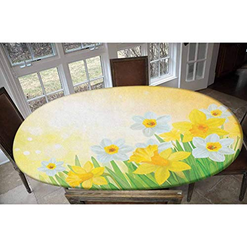 Daffodil Elastic Polyester Fitted Table Cover,Daffodils Garden Narcissus Rebirth and New Beginnings Celebration Graphic Decorative Oblong/Oval Dinner Fitted Table Cloth,Fits Tables up to 48' W x 68' L