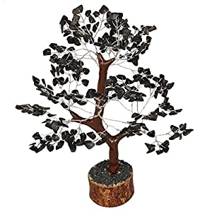 Crocon Black Tourmaline Gemstone Money Tree Feng Shui Bonsai for Energy Generator Chakra Stone Balancing Reiki Healing Crystal Spiritual Home Office Decor Size: 10-12 Inch