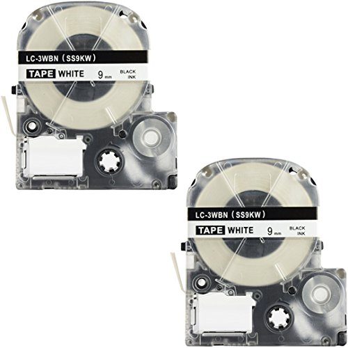 "LK-3WBN Label Tape, LaBold 2 Pack Compatible Epson LabelWorks Label Maker Tape Refill Cartridge Cassette LC-3WBN9 SS9KW LK-3WBN Black on White 3/8"" X 26.2'(9mm x 8M)"