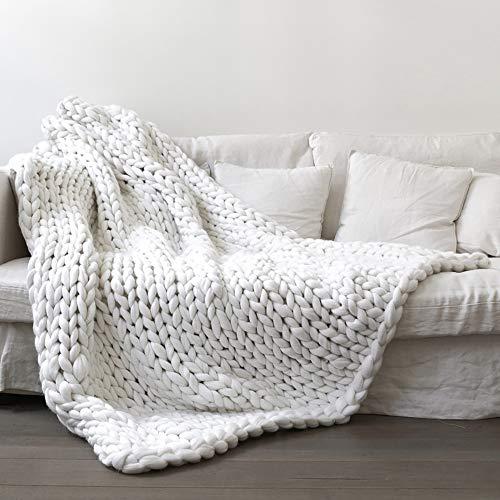 RAIN QUEEN Decke Handgefertigt Riese Klobig Sticken Werfen Sofa Decke Handgewebt Sperrig Decke Zuhause Dekor Geschenk(120*150CM, Weiß)