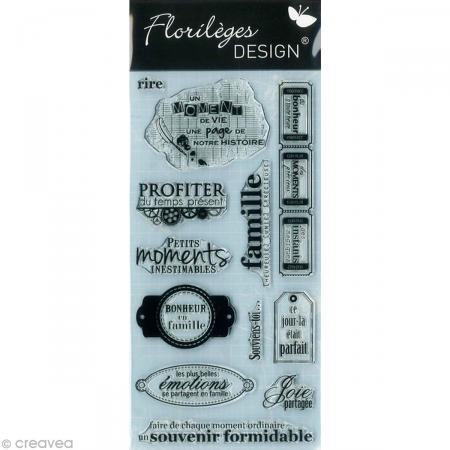 Florilèges Design FDCL112008Stempel für Scrapbooking, transparent, Motiv Momente des Lebens, grau, 25x 11,5x 0,5cm