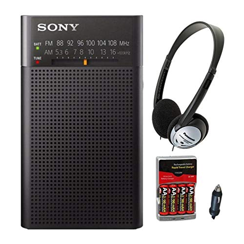 Sony ICFP26 Portable AM/FM Radio (Black) with Headphones and Accessory Bundle (3 Items)