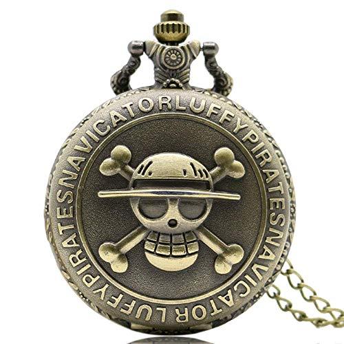 WLGQ Reloj de Bolsillo UNA Pieza Collar Reloj de Bolsillo Bronce Cráneo Dial Steampunk para Hombres Mujeres Niño Niña Niño Retro Punk