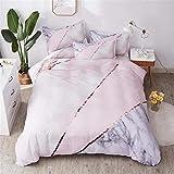 Shamdon Home Collection Marmor Bettwäsche-Set Mikrofaser Bettbezug Bettbezüge Set mit Reißverschluss, Rosegolden (135X200 cm)