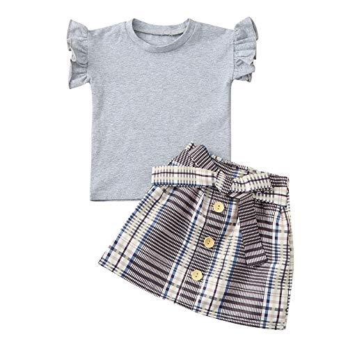Julhold Conjunto de trajes y conjuntos para recién nacidos, para bebés y niñas, con volantes, camiseta a cuadros, conjunto de faldas y camisetas con diseño floral