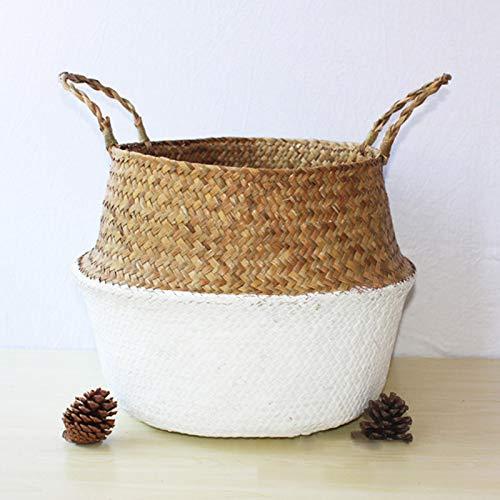 Meiyum Gewebter Seegras-Bauchkorb zur Aufbewahrung von Pflanzgefäßen und Wäsche, Picknick- und Lebensmittelkorb zur Aufbewahrung von Spielzeug, Wäsche, Picknick- und Lebensmittelkorb, Blumentopf, weiß