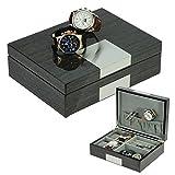 Grey Ginko Lacquered Wood Watch Cufflink Case & Ring Storage Organizer Men's Jewelry Box Father's Day