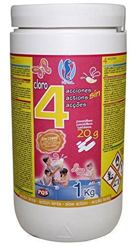 PQS – 167422 - Cloro en pastillas PQS 4 Acciones: Desinfección, Estabilizador de Cloro, Algicida y Floculante. Pastillas 20 gr. Bote 1 Kg.