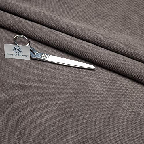 Haaris Imaan Tela de tapicería de terciopelo gris gris grafito como chenilla por metro, ignífugo, sofá y muebles