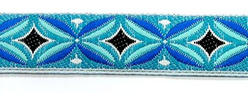 10m Indianer Retro-Borte Webband 16mm breit Farbe: Türkis-Blau-Schwarz-Weiss von 1A-Kurzwaren TH15-81-3