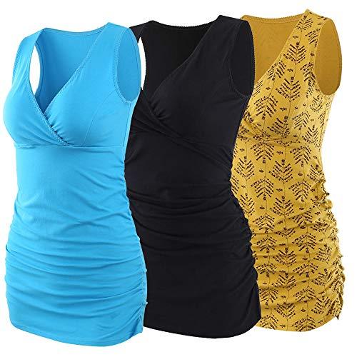 Manci Chwangerschafts & Still-Shirt, Damen Baumwolle Stillen Kleidung Schwangerschaft Top Umstandsmode Unterwäsche (Schwarz&Gelber&See Blau, S)