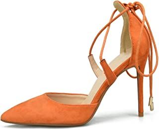 Ankle Strap Sandals For Women Stiletto High Heeled Pumps With Drawstring Pointed Faux Suede Upper Fashion Comfortable Shoes Attractive (Color : Orange, Size : 36 EU)