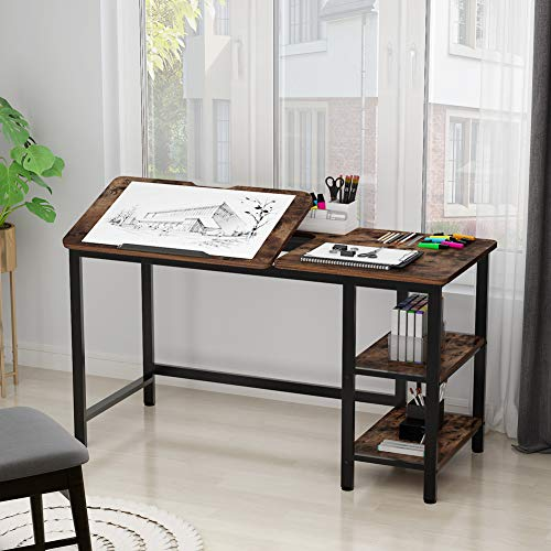 Drafting Table, LITTLE TREE Multi-Function Drawing Table with Adjustable Tiltable Stand Table Board, Can Also be Computer Desk, Writing Desk or Workstation for Office and Home Use. (Rustic Brown)