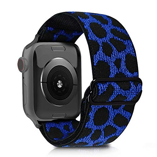Leopard Pattern Elastic Watch Bands Compatible with Apple Watch Series 6 SE 5 4 3 2 1, Soft Nylon Lightweight Breathable Adjustable Stretch Elastic Sport Wristband Replacement Strap with 38MM 40MM iWatch, Blue