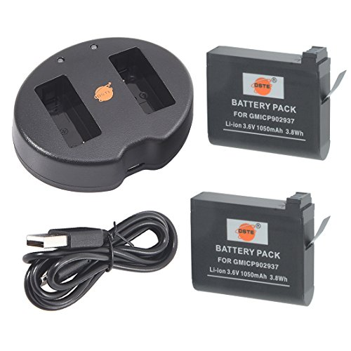 DSTE 2pcs Recargable Batería + Cargador de Batería USB para Garmin VIRB Ultra 30 Acción Cámara como 010-01529-03 010-12389-15