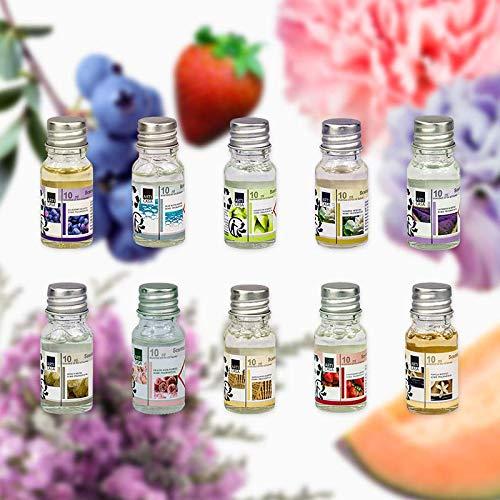 10 Duftöl Set Ätherisches Öl, Raumduft für Duftlampe Diffuser als Aroma-Therapienöl: Blaubeere, Blaues Wasser, Honigmelone, Jasmin, Lavendel, Moschus, Rosen, Sandelholz, Erdbeere, Vanille